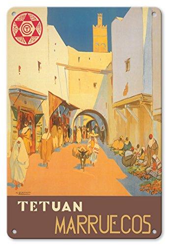 Tétouan - Maroc - Ville de la Colombe Blanche - Affiche Voyage de Mariano Bertuchi c.1940 Plaque d'art en métal 20 x 30cm