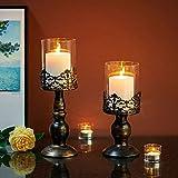 NUPTIO Set mit 2 Kerzenhaltern für Stumpenkerzen mit Glasabdeckung, Antiker Metall-Hurricane-Kerzenhalter Perfekt für Die Dekoration des Kamin-Esstisches Im Mittelpunkt, Halloween Weihnachten Deko - 2