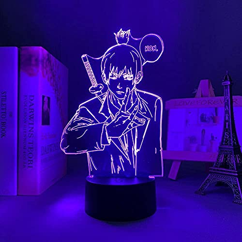 3D Anime Lámpara LED Noche Anime Motosierra Hombre AKI Hayakawa para Dormitorio Decoración Niños Regalo de Cumpleaños Manga Luz LED Mesa-Control Remoto