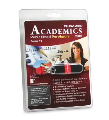 Filemate Academics USB 2GB Educational Software Pre-Algebra (3FMUSBED2GPA-R)