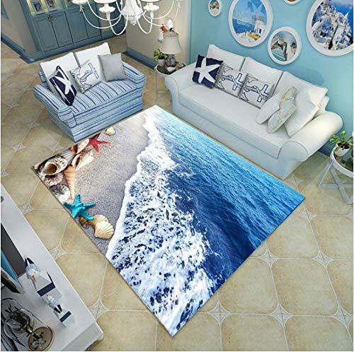 Mianbao Teppich-moderner Blauer Seestrand-Mittelmeerart 3D, Couchtisch-Schlafsofa-Schlafzimmer-Boden-Matten-Gewohnheit waschbar ist ACH Shells 120 * 160cm