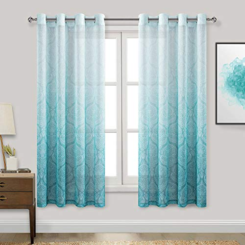 DWCN Damask Ombre Sheer Curtains for Living Room - Faux Linen Gradient Grommet Voile Curtains for Boys Kids Room Bedroom, 2 Window Curtain Panels, 52 x 63 inch Length, Turquoise