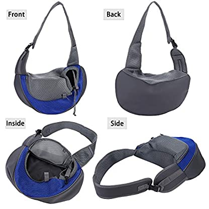 Pet Dog Cat Sling Carrier Bag Puppy Shoulder Carry Bag Hands Free Dog Papoose Carrier with Adjustable Shoulder Strap Pet Travel Carrier Tote Bag with Breathable Mesh Pouch for Outdoor Walking Subway 7