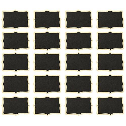 com-four® 20x Mini Tableau à Craie avec Cordon - Planche de Bois pour écrire avec de la Craie - Marque-Place pour Mariage - étiquette de nom - étiquette Cadeau - décoration de Table