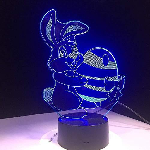 Carino Coniglio Trasportare Uovo Palla Carota Lampada Visiva Colori Cambiare Led Luce Notturna Illusione Lampada da Tavolo per Bambini Camera da Letto Luce Sfumatura Led Soggiorno