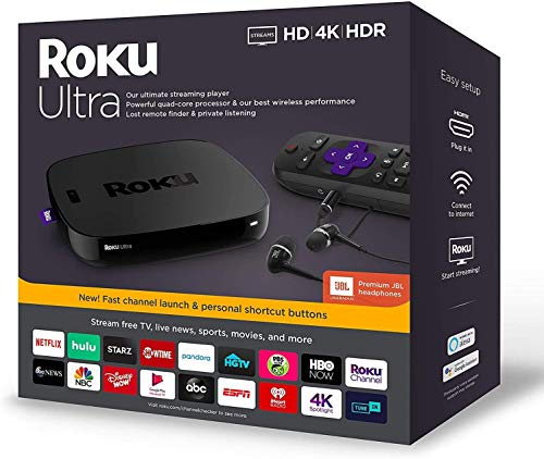 Roku Ultra Streaming Media Player 4K/HD/HDR Bundle - Enhanced Voice Remote W/TV Controls and Shortcuts - Premium JBL Headphones - HDMI, Ethernet, and Micro SD Ports - iPuzzle HDMI Cable 3ft