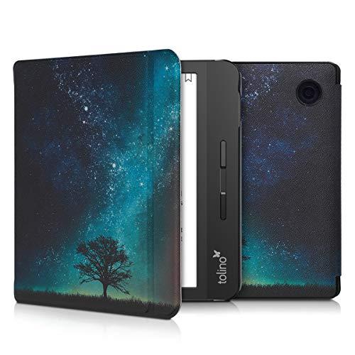 kwmobile Klapphülle kompatibel mit Tolino Vision 5 - Hülle eReader - Galaxie Baum Wiese Blau Grau Schwarz
