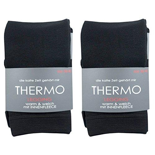 LIBRA SOCKS Damen extra warme Thermoleggings - kuschelig mit weichem Fleece (2x, 44-46)