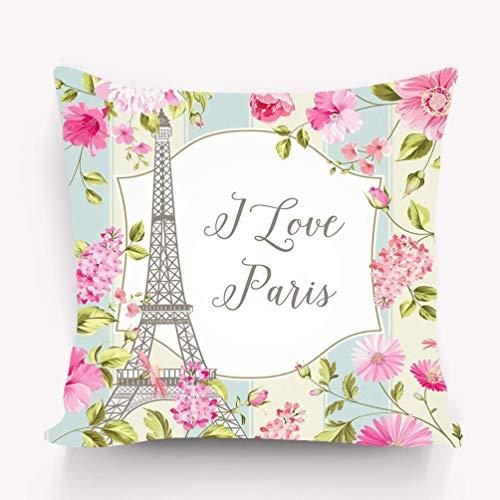 sherry-shop Funda de cojín Amo la invitación de la Tarjeta de París Torre Eiffel patrón de Flores de Primavera Ramo de Tulipanes sobre Fondo de Azulejos psicodélico 20X20IN