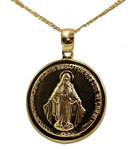 Virgen Milagrosa - Medalla de Nuestra Señora Milagrosa chapada en oro de 18 quilates con cadena