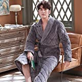 Albornoces para hombre Hombre invierno túnicas cálidas gruesas alarde de franela acolchado chal kimono ropa de hogar ropa de manga larga bata abrigo peignoir homme masculino albornoz spa bata nightdr