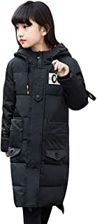 SITENG Girls' Kids Winter Hooded Down Coat Puffer Jacket Parka Padded Overcoat Big Girls Mid-Long