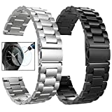 Koreda Compatible Samsung Galaxy Watch 46mm/Gear S3 Frontier/Classic Band Sets, 22mm Solid Stainless Steel Metal Band Bracelet Strap Replacement for Ticwatch Pro/Samsung Galaxy Watch 46mm Smartwatch