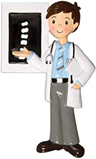 Personalized Chiropractor Christmas Tree Ornament 2019 - Brunette X-ray Tech Practitioner Man Spine Exposure Male Brown Hair Doctor Care Uniform Coworker Complementary Medicine - Free Customization
