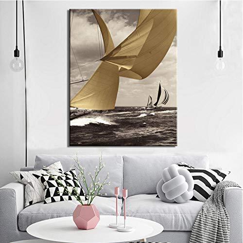 cptbtptp Moderne Seascape Poster und Kunstdrucke Wandbilder auf Leinwand Wanddekoration Segelbilder für Wohnzimmer decor40x60cm