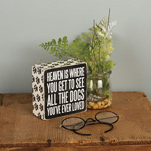 Primitives by Kathy 22223 Pawprint Trimmed Box Sign, 4' x 4', All the Dogs