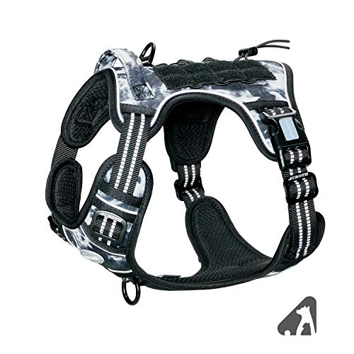 Auroth Tactical Dog Training Harness No Pulling Front Clip Leash Adhesion Reflective K9 Pet Working Vest Easy Control for Small Medium Large Dogs Black Ink S