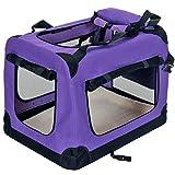 PetViolet Transportbox für Haustiere Hunde Katzen, Faltbar, 70x50x50 cm, Violett