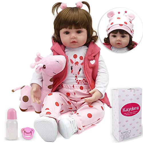 Kaydora Reborn Baby Doll Girl, 16 inch Soft Weighted Body, Cute Lifelike Handmade Silicone Doll