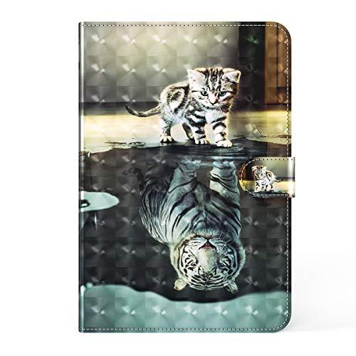LMFULM® Hülle für Lenovo Tab E10 TB-X104F (10,1 Zoll) PU Lederhülle Smart Hülle mit Ständer Schutzhülle Flip Cover 3D Katze & Tiger