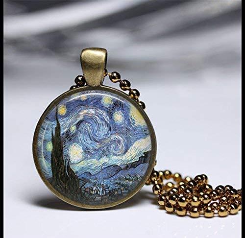 Vincent Van Gogh - Joyería de pintura, Vincent Van Gogh, collar de acuarelas, colgante de arte vintage, colgante de latón redondo, colgante de cristal, joyería de arte fotográfico, collar de cristal