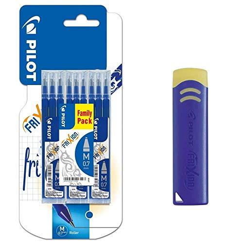 Pack/Set-9 Recambios Frixion Clicker/Ball-Pilot -Repuesto Tinta BLS-FR7 para 0,7 m/m + Goma de Borrar FriXion