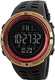 Jinhong - Reloj deportivo multifunción para exteriores (Dual Time Luminous Day of The Week, alarma, cuenta atrás, indicador de 24 horas, muy adecuado como regalo), color negro y rojo