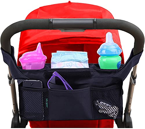 Stroller Organizer, Premium Quality - Deep Insulated Stroller with 2 Cup Holders - Diaper Bag, Extra Storage Space for Stroller Accessories, Pockets for Phone, Keys, Toys (Black)