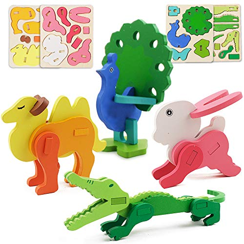 4 Sets of Dimensional Colorful Animal Puzzles for Toddlers 2-6 Years Old, Preschool Montessori Educational Toys for Boys and Girls