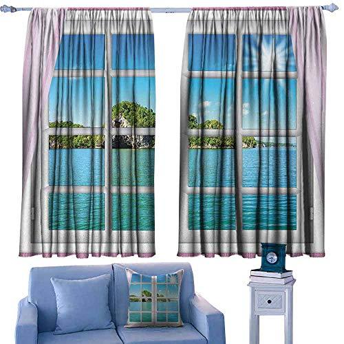 Lovii venster gordijnen Modieuze Illustratie Aangepaste Gordijn Oceaan Uitzicht vanuit het raam op het eiland in Zonnige Zomer Dag Vredige Ontspanning Rusten Roze Blauw