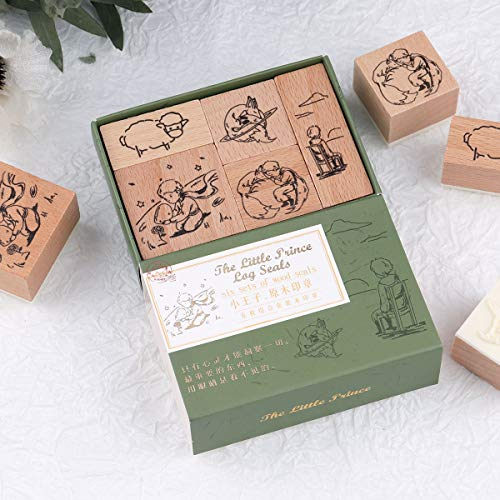 RisyPisy 5 Pieces Wooden Rubber Stamp Set, The Little Prince Vintage Decorative Rubber Stamp for DIY Projects, Card Making, Planners, Scrapbooking, Envolope and Journaling