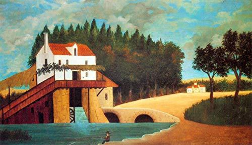 Le moulin par Henri Julien Rousseau. 100% peint à la main. Peinture sur toile. Reproduction de haute qualité. Livraison gratuite (non encadrée et non étirée). Taille de la peinture: 63 x 94 cm.