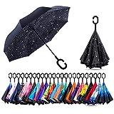 CarBoys 逆転傘 逆さ傘 逆折り式傘 自立傘 長傘 手離れC型手元 耐風 撥水加工 晴雨兼用 ビジネス用 車用 UVカット 遮光遮熱 傘袋/ケース付き(星の空)