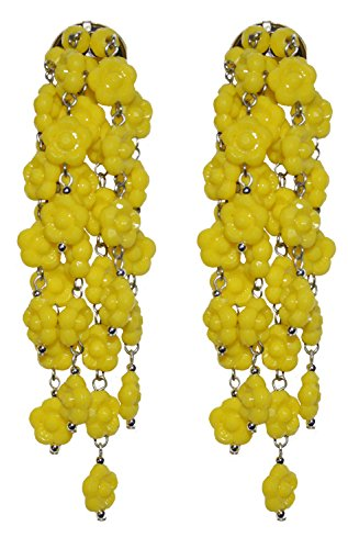 VINTAGE YELLOW - Orecchini con clips, senza buco, 7 pendenti di fiorellini Gialli in resina, originali anni 60, nickel free, lunghezza cm. 9