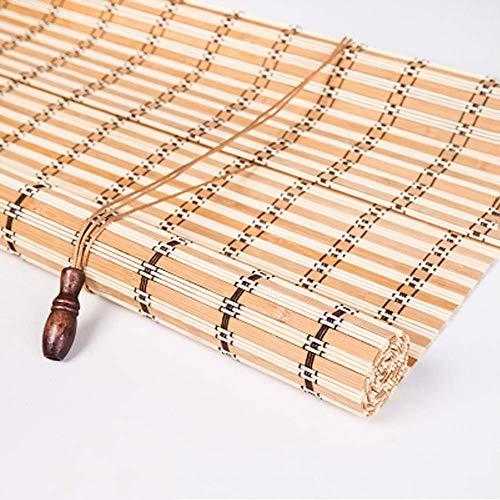 LY88 Persianas enrollables de bambú con Gancho, persiana Enrollable de oscurecimiento para Patio con Gazebo y Tirador Lateral para partición de salón de té, Ancho 80/100/120/130/140 cm (tamaño: 1