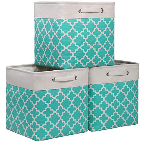"Kntiwiwo Large Cubes Storage Bins 13"" x 13"" x 13"" Decorative Storage Baskets for Cube Organizer Storage Bin for Closet w/Handles for Cube Shelf Nursery Home Organizing,Set of 3"