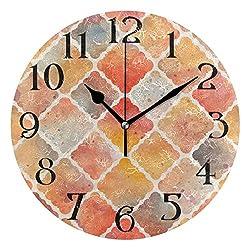 Modern Orange Geometry Wall Clock 9.5 Inch Non-Ticking Silent Clocks Round Bathroom Clock Battery Operated Quartz Analog Decorative Desk Clock for Living Room