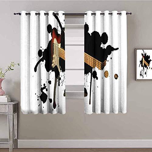 LWXBJX Opacas Cortinas Dormitorio - Instrumento Musical bajo Blanco Arte - Impresión 3D Aislantes de Frío y Calor 90% Opacas Cortinas - 234 x 137 cm - Salon Cocina Habitacion Niño Moderna Decorativa