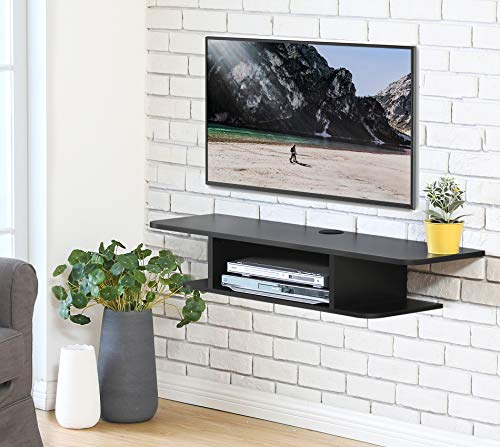 FITUEYES Madera Grano Mesa Flotante para TV Mueble para TV en la Pared Color Negro DS210501WB