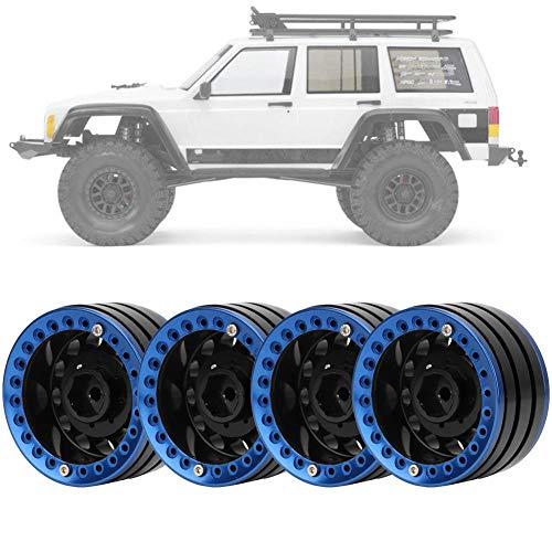 Dilwe 4 Stücke 1,9 Zoll Beadlock Felge Radnabe, Zubehörteil für SCX10 1/10 RC Crawler Car(schwarz blau)