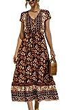 Vestidos de mujer - Vestido maxi casual de manga corta con cuello en V y estampado floral