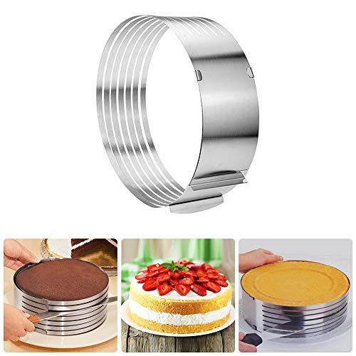 Layer Cake Cutter Slicer Stainless Steel 6-8 inch Cake Layer Slicer Leveler Adjustable Bread Cake Ring Cutter Layer Cake Slicer Kit Mousse Mould Slicing Cake