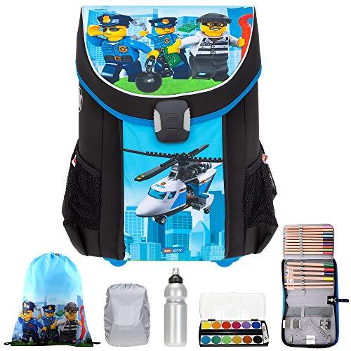 6 Teile Schulranzen Jungen Lego Easy Schulrucksack Ranzen Trinkflasche Malkasten Regenhülle +rkf (City Police Chopper 1835)