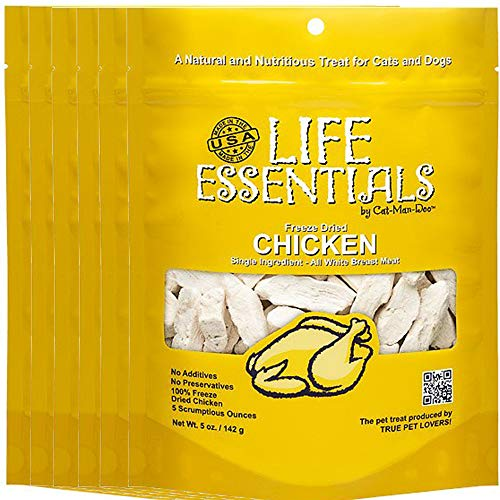 All-Natural Freeze Dried Chicken Treats for Dogs & Cats No Grains, Fillers, Additives and Preservatives Proudly Made in the USA - 6 Pack (5 oz. Bag)