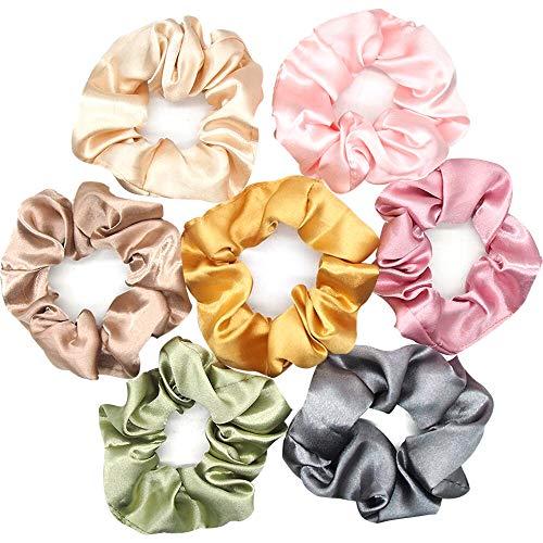 Uni-Fine 7 Pcs Satin Chouchous Cheveux, Scrunchies Multicolor Élastique Bandeaux Bobbles Bandes de Cheveux Cravates Pour Queue de Cheval, Accessoires pour Les Cheveux des Femmes Filles