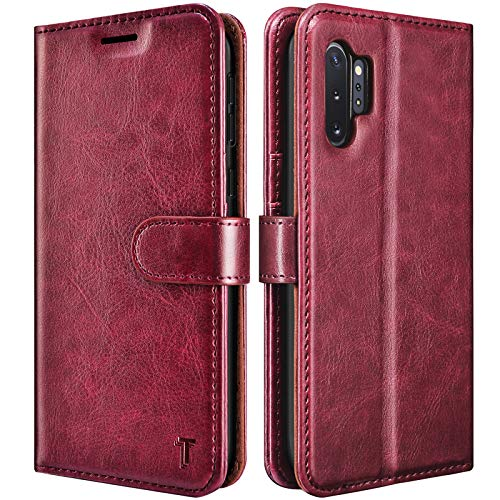 Galaxy Note 10 Case, Galaxy Note 10 Wallet Case, Tekcoo [RFID Blocking] Premium Cash Credit Card Slots Holder Carrying Folio Flip Vegan Leather Cover Kickstand for Samsung Galaxy Note10 [Wine Red]