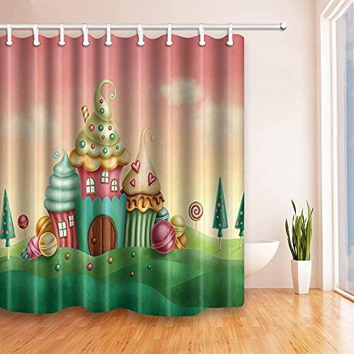 Teen Girl's Collection Duschvorhänge Fantasy-Häuser von Cupcakes Candy Sweets in Grünland Kinder Kunstdruck Wasserdichter Polyester Stoff Badzubehör