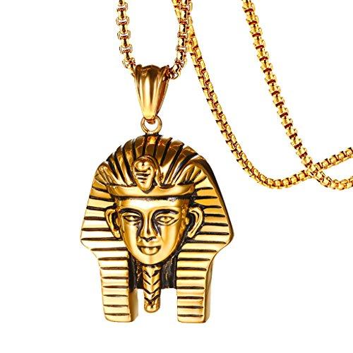 P Prettyia Colgante De Hip-Hop con Faraón Egipcio Chapado En Oro para Hombre, Collar De Cadena De Cuerda De 24 '