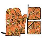 Juegos de Manoplas y Porta ollas para Horno,Patrón Flor Rosa Mosqueta Textura Transparente Brillante Guantes de Cocina Resistentes al Calor para Hornear en la Cocina, Parrilla, Barbacoa,BBQ