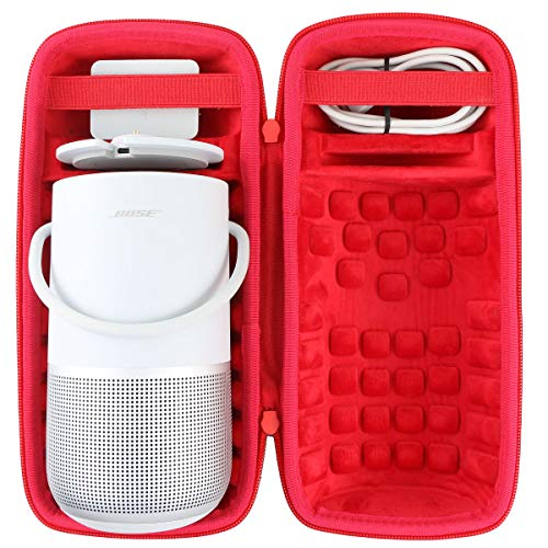 co2CREA Harte Tasche für Bose Portable Smart Speaker Hülle Etui Tragetasche (Schwarz hülle,Rot innen)